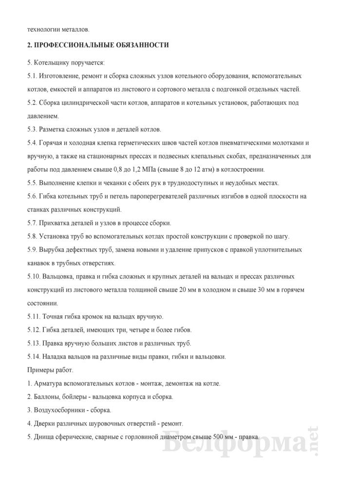 Рабочая инструкция котельщику (4-й разряд). Страница 2
