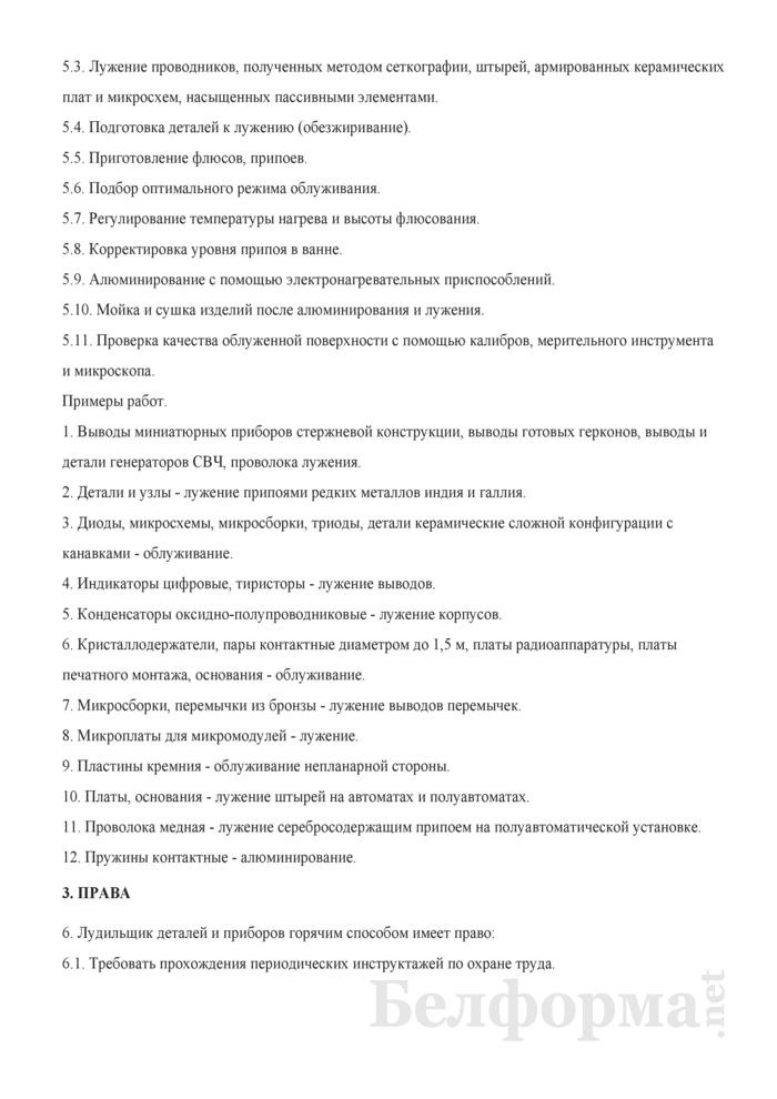 Рабочая инструкция лудильщику деталей и приборов горячим способом (3-й разряд). Страница 2