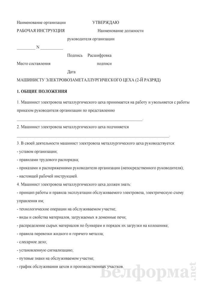 Рабочая инструкция машинисту электровоза металлургического цеха (2-й разряд). Страница 1