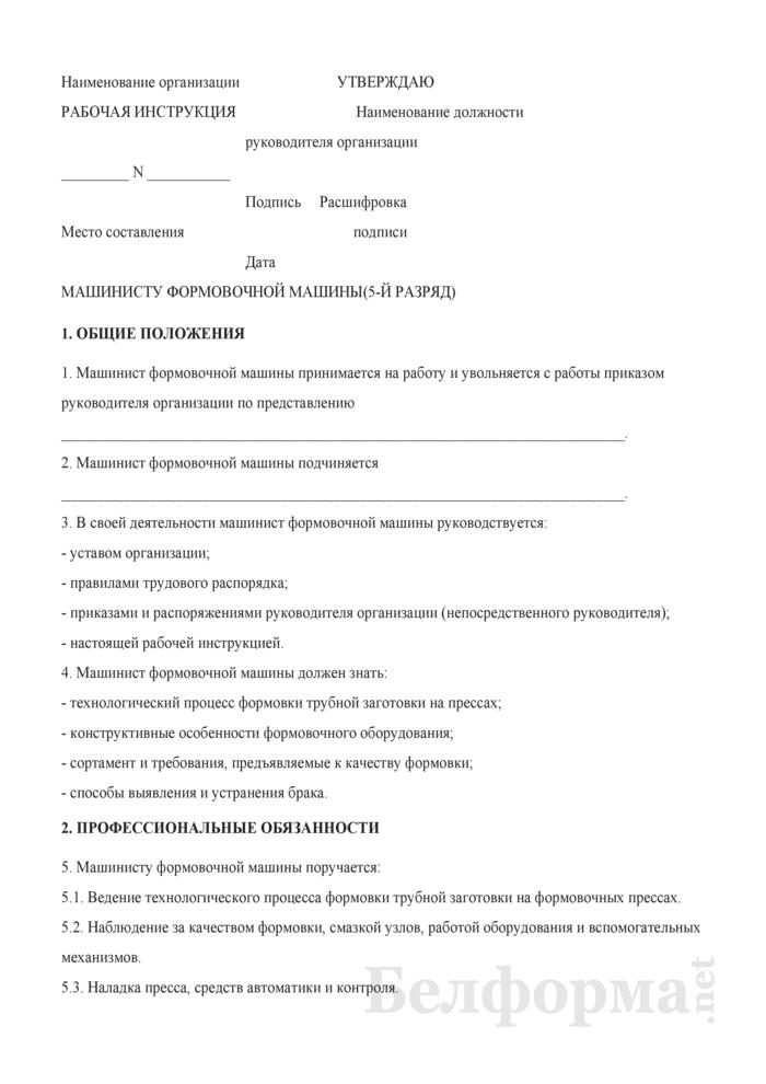 Рабочая инструкция машинисту формовочной машины (5-й разряд). Страница 1