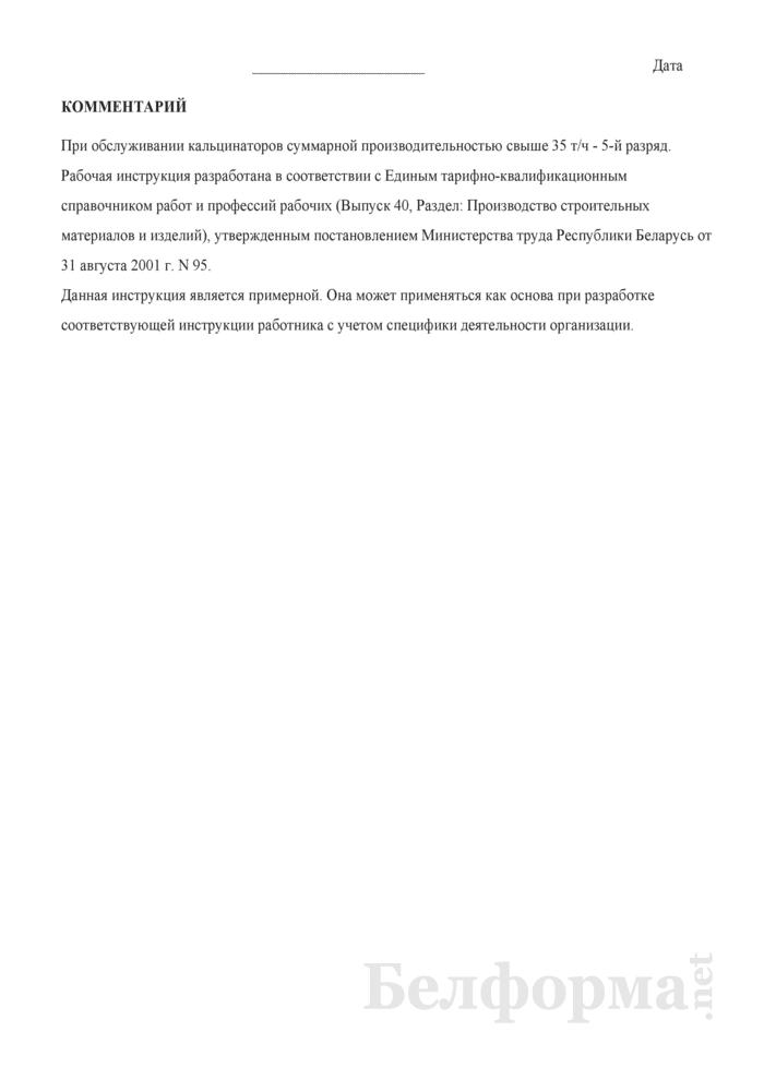 Рабочая инструкция машинисту кальцинаторов (4 - 5-й разряды). Страница 3