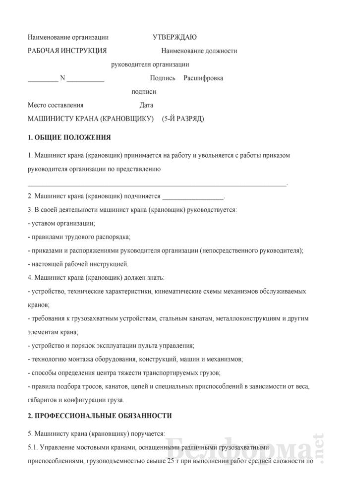 Рабочая инструкция машинисту крана (крановщику) (5-й разряд). Страница 1
