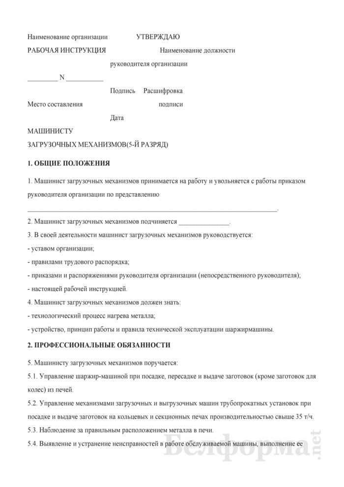 Рабочая инструкция машинисту загрузочных механизмов (5-й разряд). Страница 1