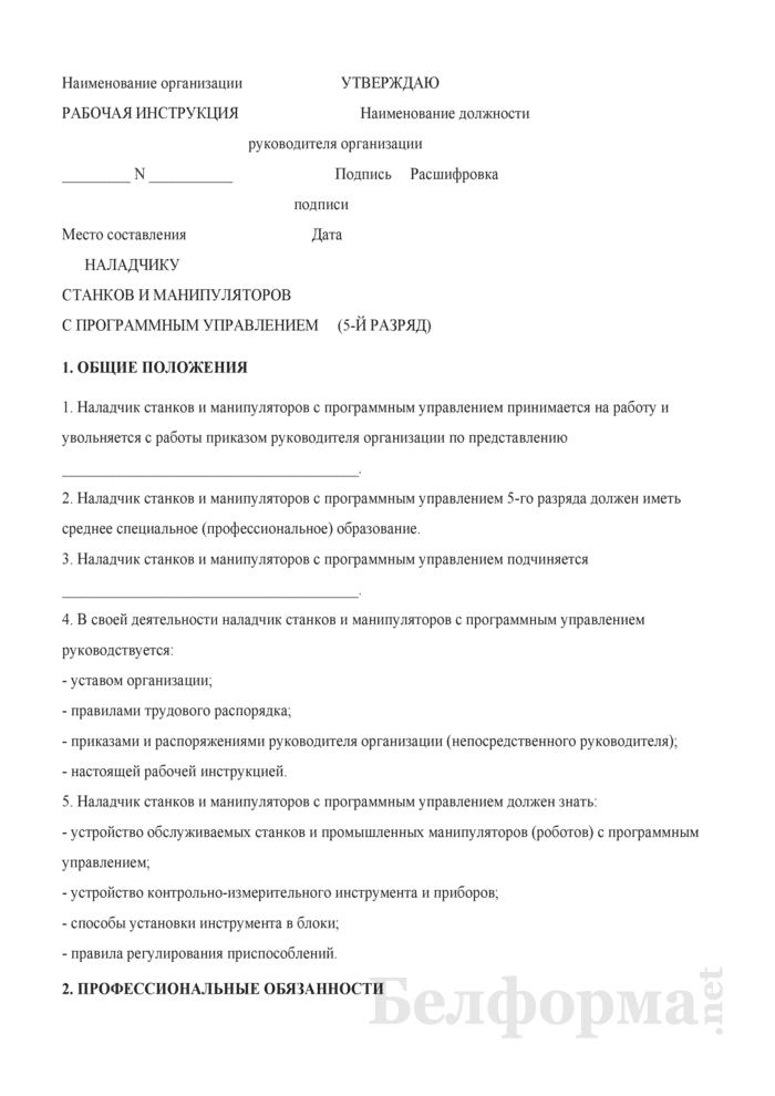 Рабочая инструкция наладчику станков и манипуляторов с программным управлением (5-й разряд). Страница 1