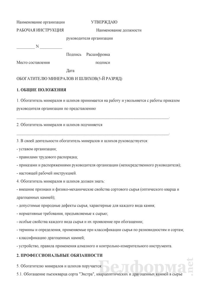 Рабочая инструкция обогатителю минералов и шлихов (5-й разряд). Страница 1