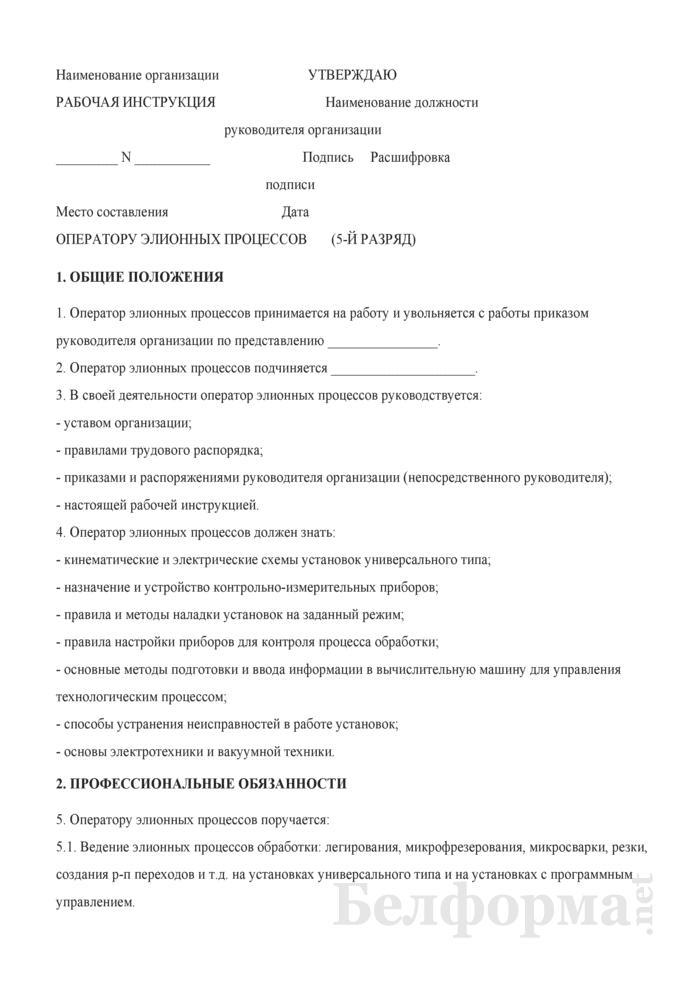 Рабочая инструкция оператору элионных процессов (5-й разряд). Страница 1