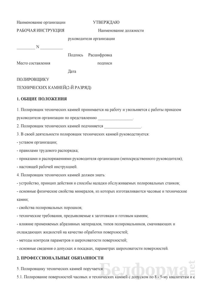 Рабочая инструкция полировщику технических камней (2-й разряд). Страница 1