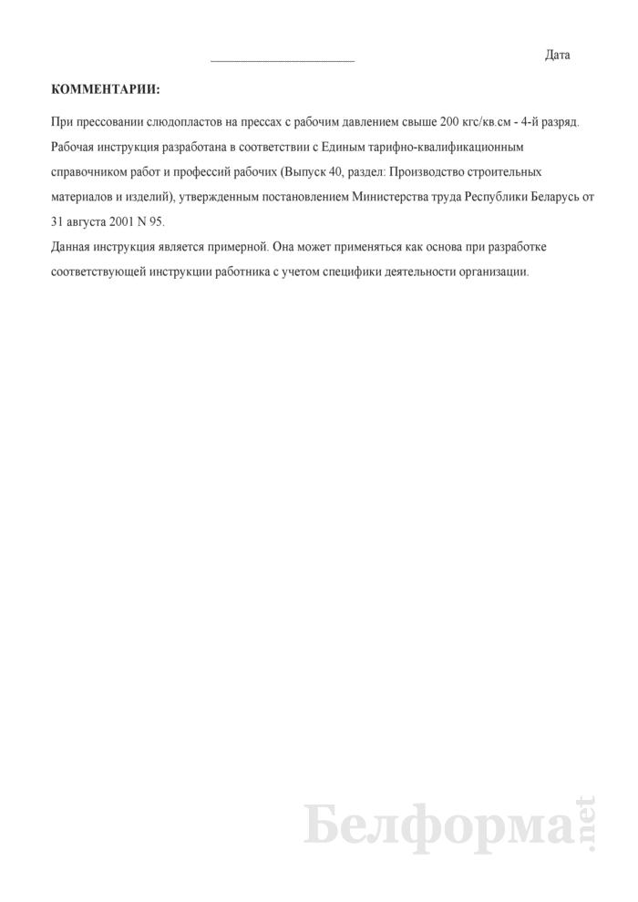 Рабочая инструкция прессовщику слюдопластов (3 - 4-й разряды). Страница 3