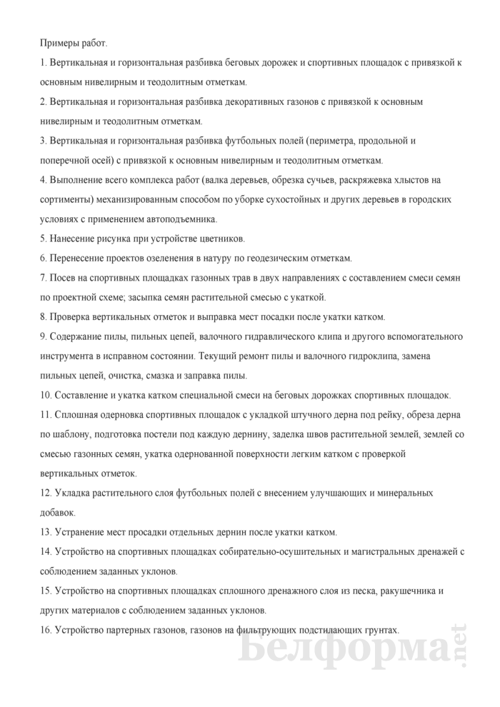 Рабочая инструкция рабочему зеленого строительства (6-й разряд). Страница 2