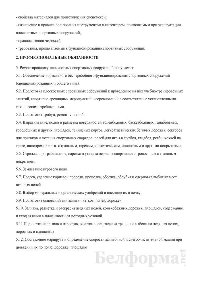 Рабочая инструкция ремонтировщику плоскостных спортивных сооружений (4-й разряд). Страница 2