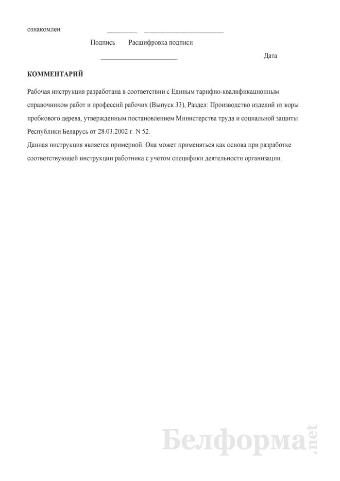 Рабочая инструкция штамповщику пробковых изделий (2-й разряд). Страница 3