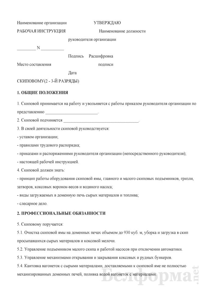 Рабочая инструкция скиповому (2 - 3-й разряды). Страница 1