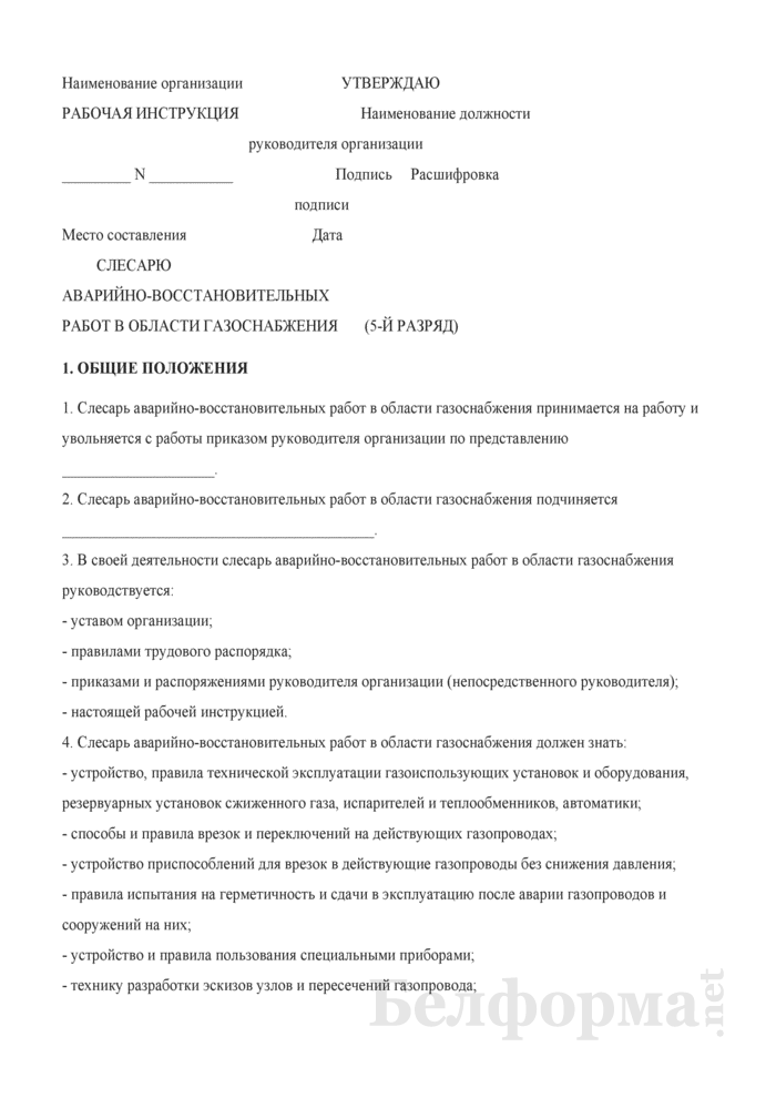 Рабочая инструкция слесарю аварийно-восстановительных работ в области газоснабжения (5-й разряд). Страница 1