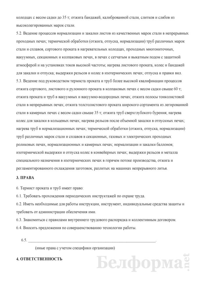 Рабочая инструкция термисту проката и труб (4-й разряд). Страница 2