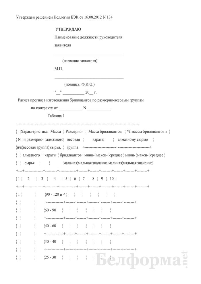 Расчет прогноза изготовления бриллиантов по размерно-весовым группам по контракту. Страница 1
