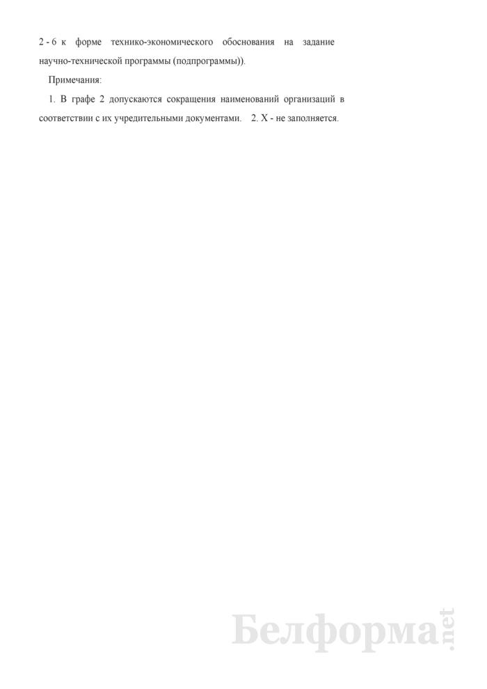 Расчет затрат на оплату работ и услуг, выполняемых сторонними организациями, финансируемых за счет средств республиканского бюджета (приложение к примерной форме технико-экономического обоснования на задание научно-технической программы (подпрограммы). Страница 2