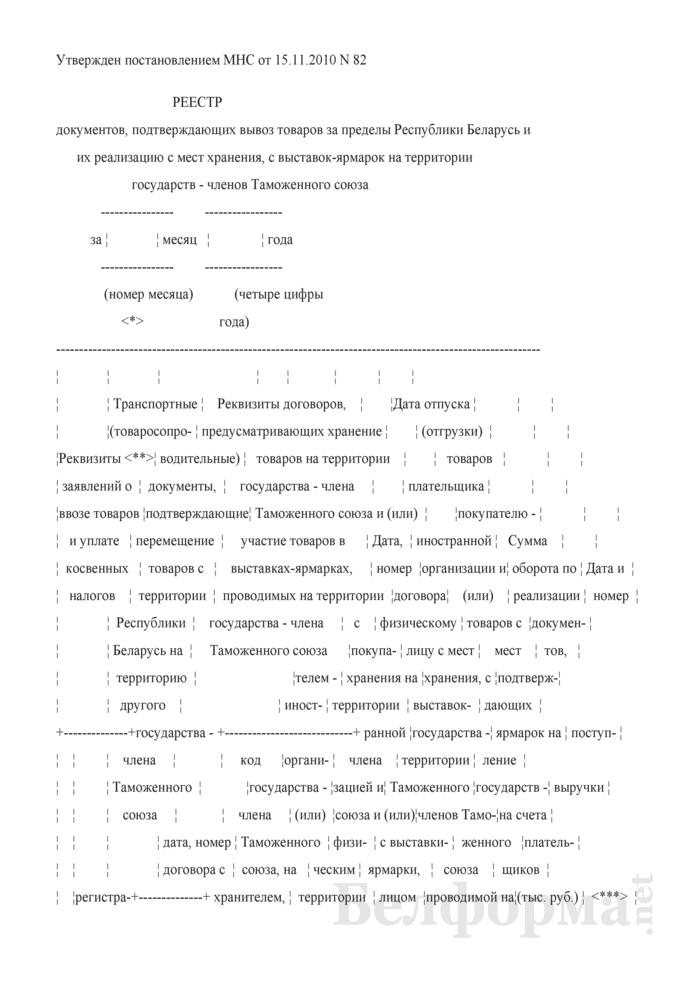 Реестр документов, подтверждающих вывоз товаров за пределы Республики Беларусь и их реализацию с мест хранения, с выставок-ярмарок на территории государств - членов Таможенного союза. Страница 1