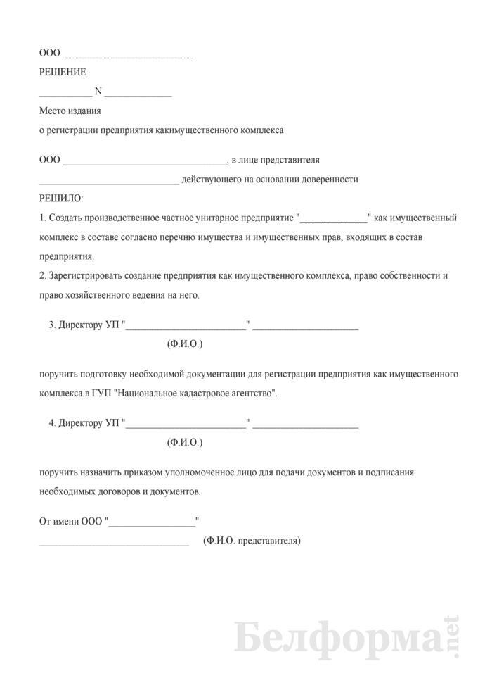 Решение собственника о регистрации предприятия как имущественного комплекса. Страница 1