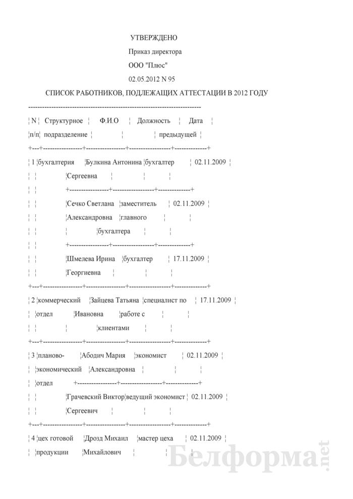 Список работников, подлежащих аттестации (Образец заполнения). Страница 1