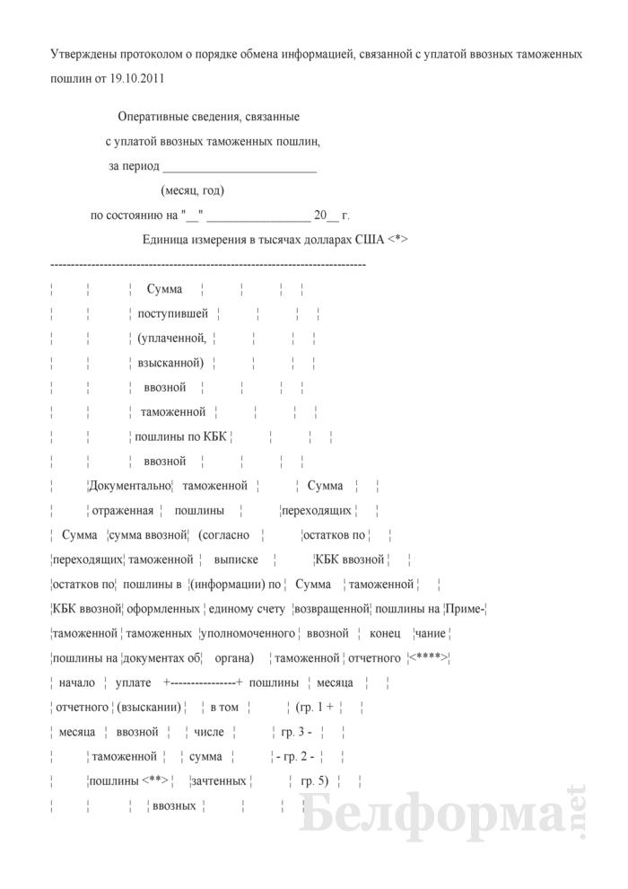 Оперативные сведения, связанные с уплатой ввозных таможенных пошлин. Страница 1