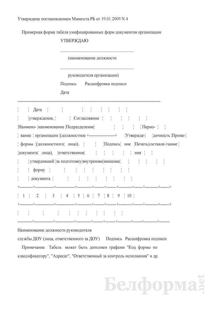 Примерная форма табеля унифицированных форм документов организации. Страница 1
