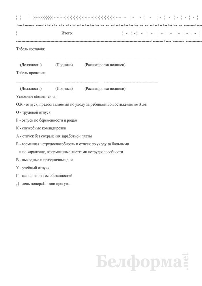 Табель использования рабочего времени. Страница 3