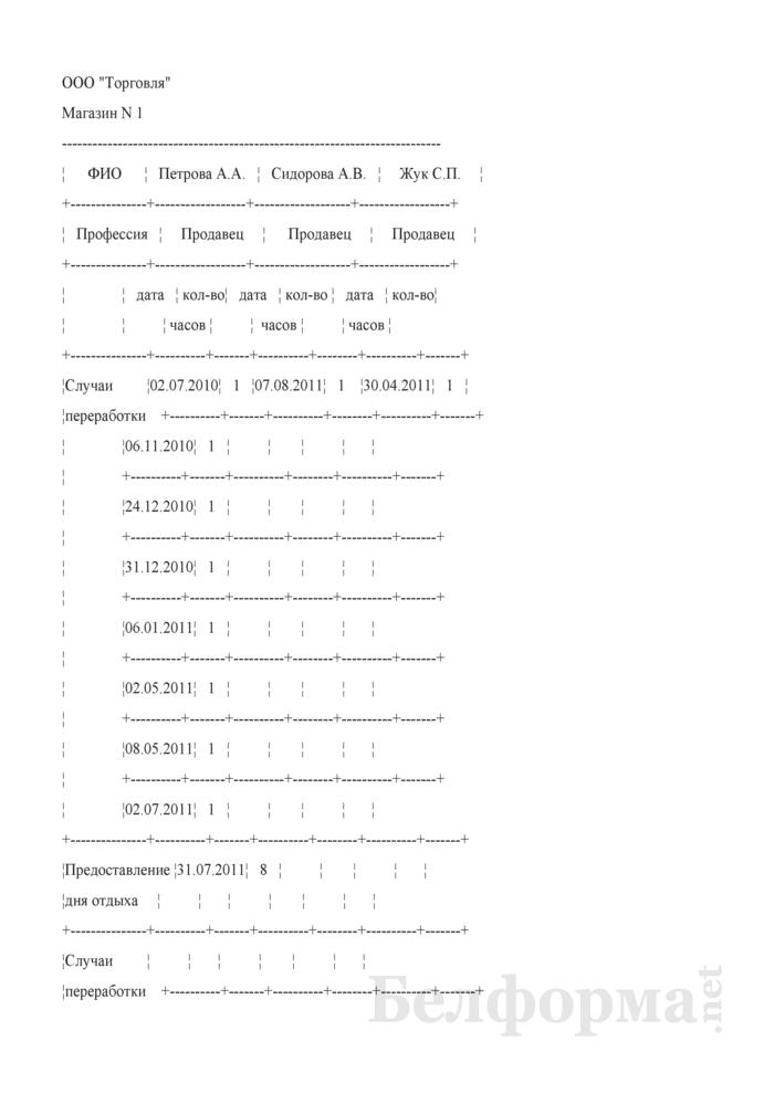 Таблица учета переработанного времени в предпраздничные дни (Образец заполнения). Страница 1
