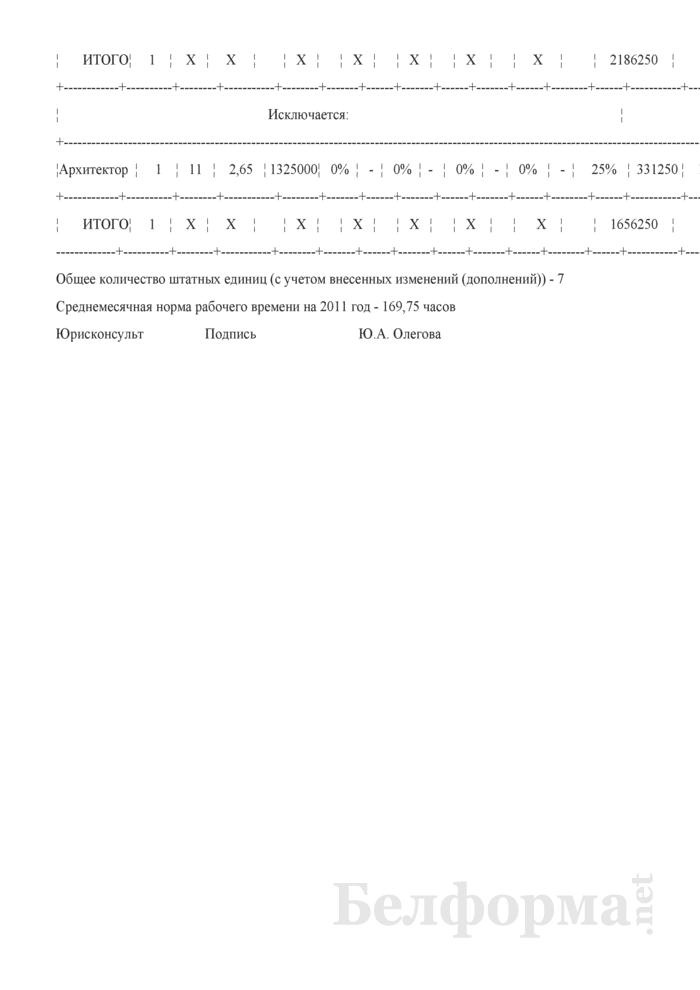 Изменения и дополнения в штатное расписание (Образец заполнения). Страница 2