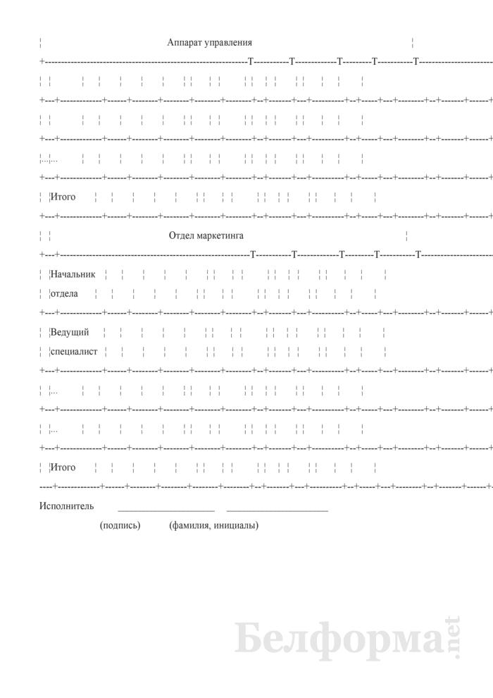 Примерная форма штатного расписания коммерческой организации, применяющей ЕТС. Страница 2