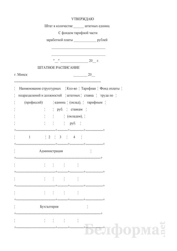 Штатное расписание (для организаций, не использующих контрактную форму найма работников). Страница 1