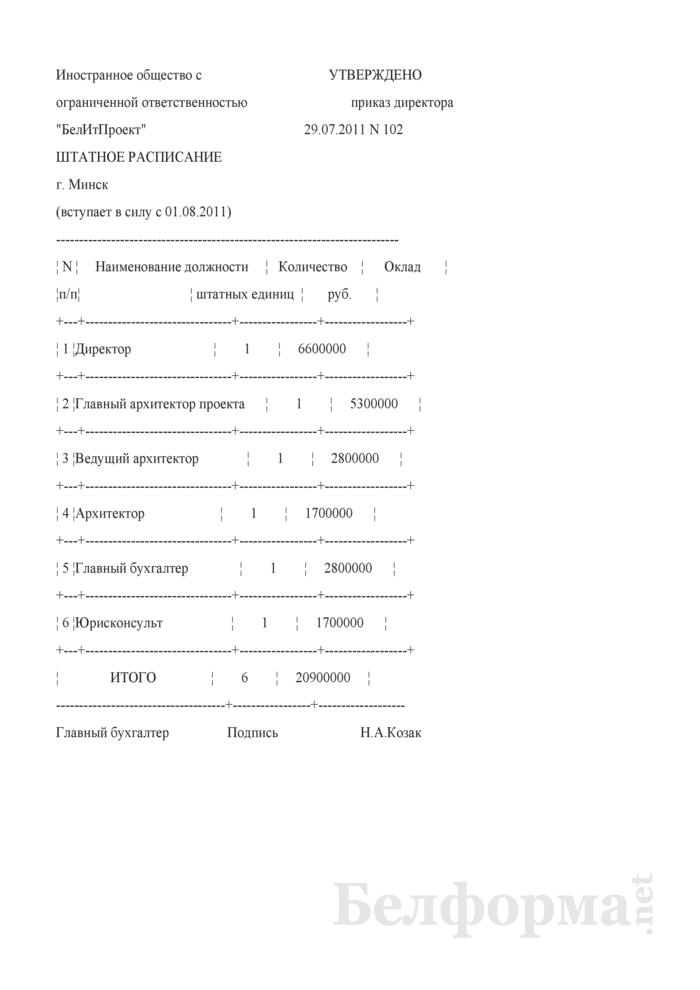 Штатное расписание коммерческой организации, не применяющей ЕТС (Образец заполнения). Страница 1