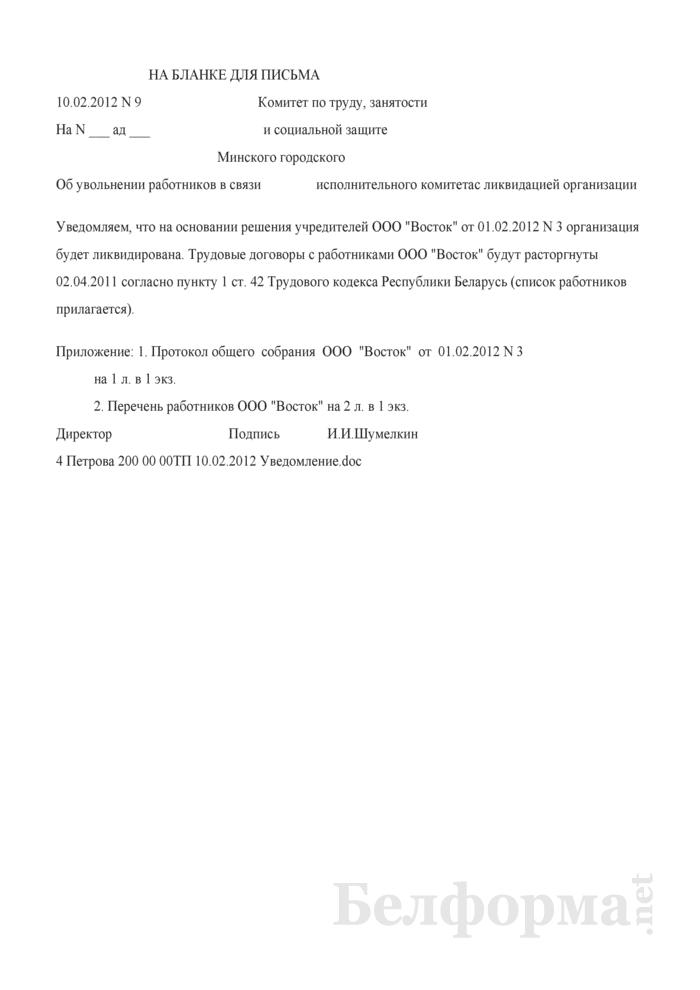 Уведомление органа соцзащиты в связи с ликвидацией организации (Образец заполнения). Страница 1
