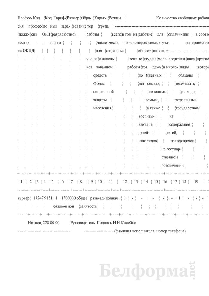 Уведомление органов соцзащиты о наличии свободных рабочих мест (вакансий) (Образец заполнения). Страница 2