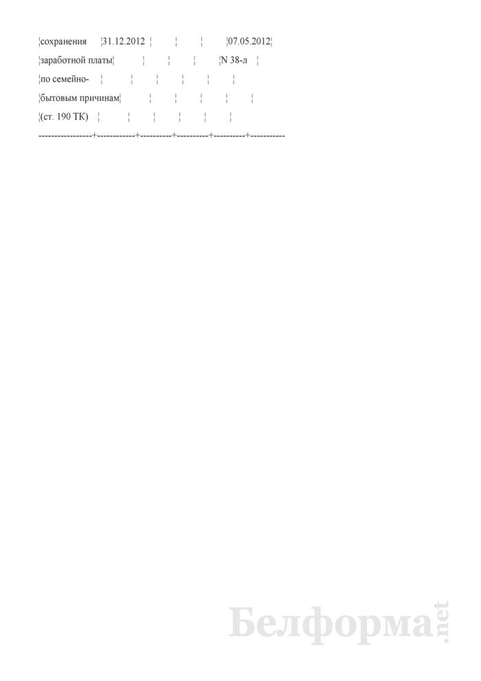 """Запись о социальном отпуске в разделе """"Отпуска"""" личной карточки работника (Образец заполнения). Страница 2"""