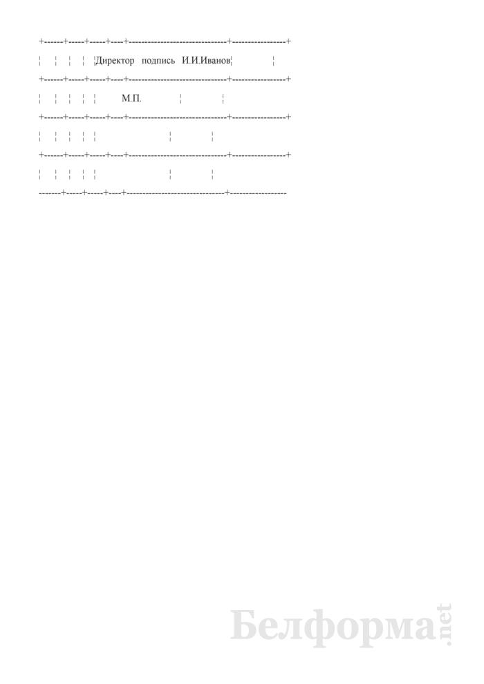 Запись в трудовой книжке об увольнении за употребление токсических веществ в рабочее время, но не по месту работы (Образец заполнения). Страница 2
