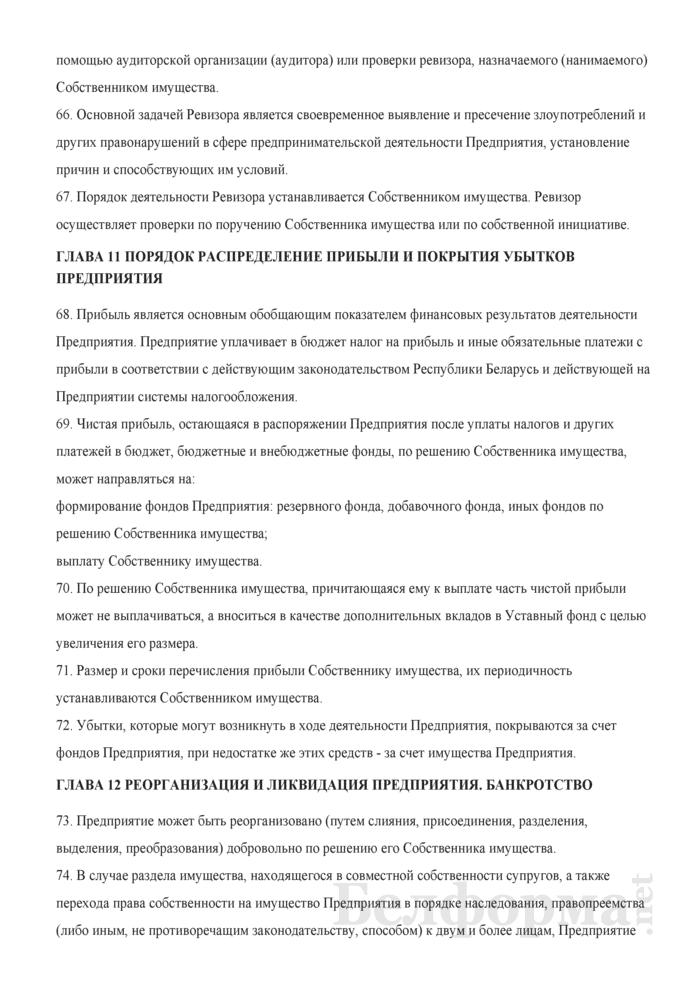 Устав Частного унитарного предприятия. Страница 11