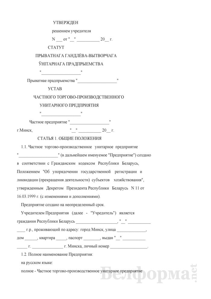 Устав частного торгово-производственного унитарного предприятия. Страница 1