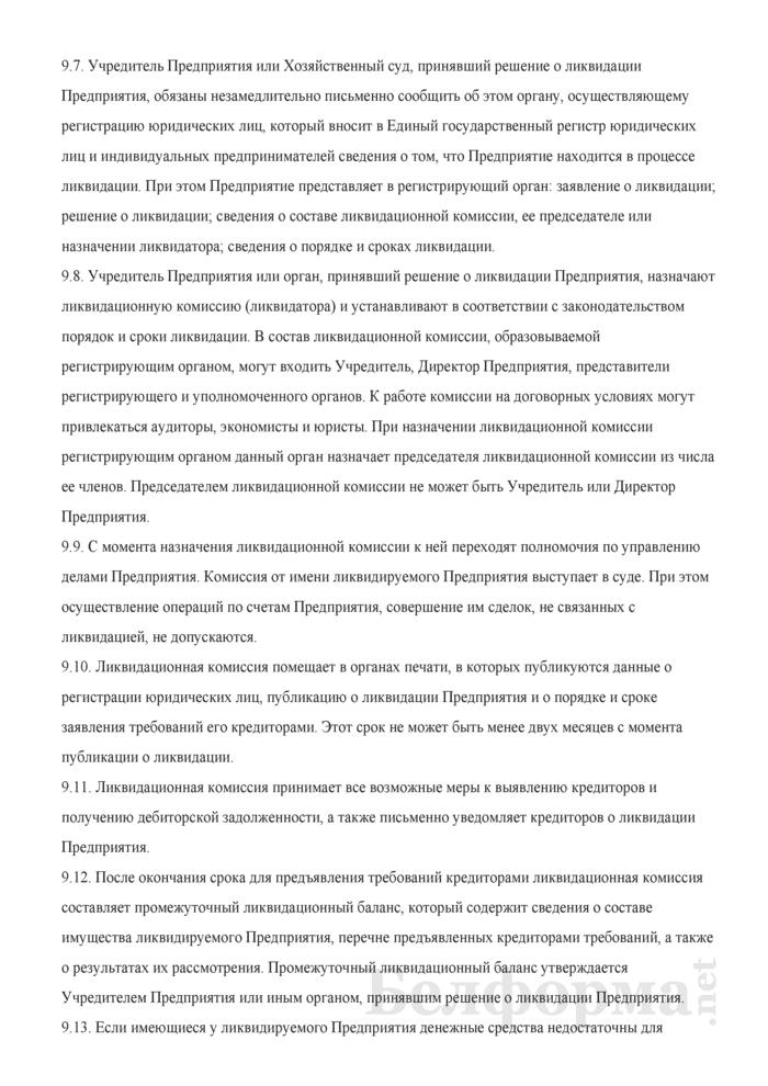 Устав частного унитарного предприятия. Страница 9