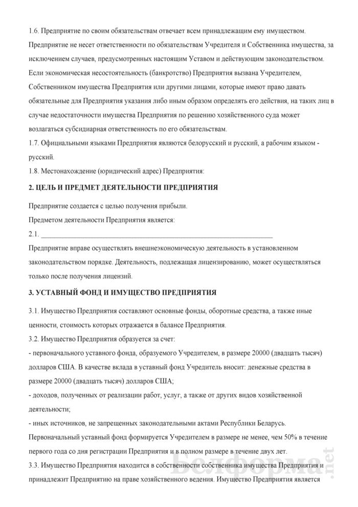 Устав иностранного дочернего унитарного торгового предприятия. Страница 2