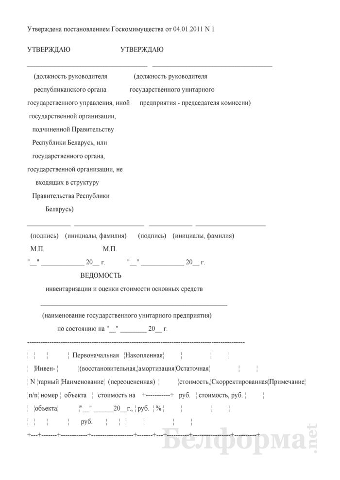 Ведомость инвентаризации и оценки стоимости основных средств. Страница 1