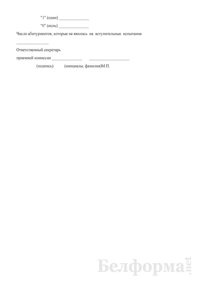 Экзаменационная ведомость вступительного испытания. Страница 2