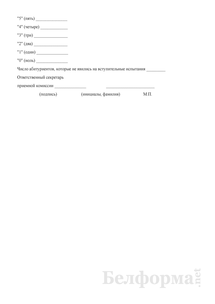 Экзаменационная ведомость вступительного испытания (для средних специальных учебных заведений). Страница 2
