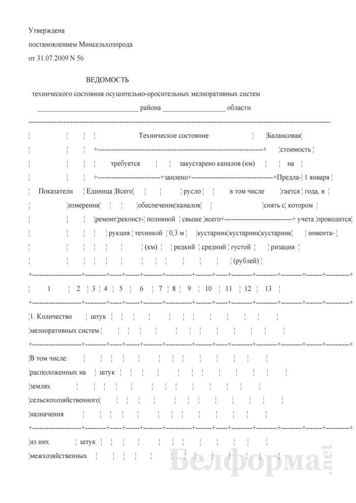 Ведомость технического состояния осушительно-оросительных мелиоративных систем. Страница 1