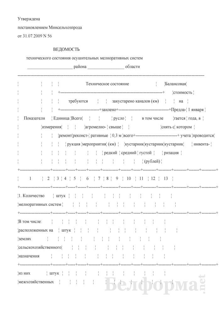 Ведомость технического состояния осушительных мелиоративных систем. Страница 1