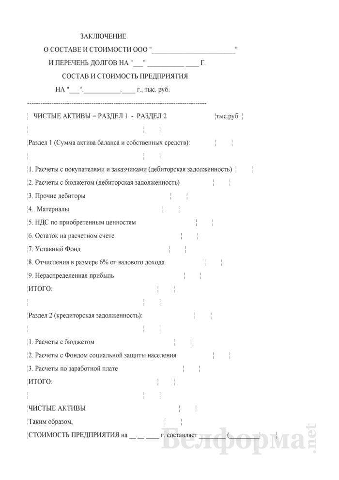 Заключение о составе и стоимости хозяйственного общества и перечень долгов. Страница 1