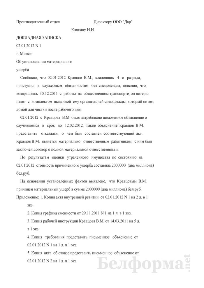 Докладная записка об установлении материального ущерба (Образец заполнения). Страница 1