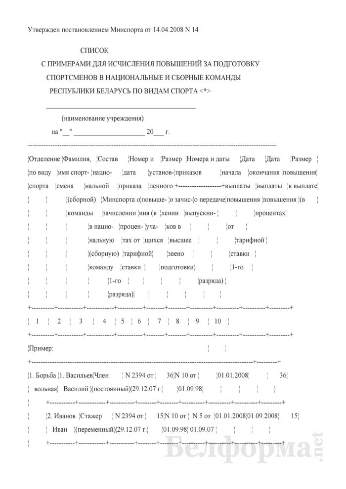 Список с примерами для исчисления повышений за подготовку спортсменов в национальные и сборные команды Республики Беларусь по видам спорта. Страница 1