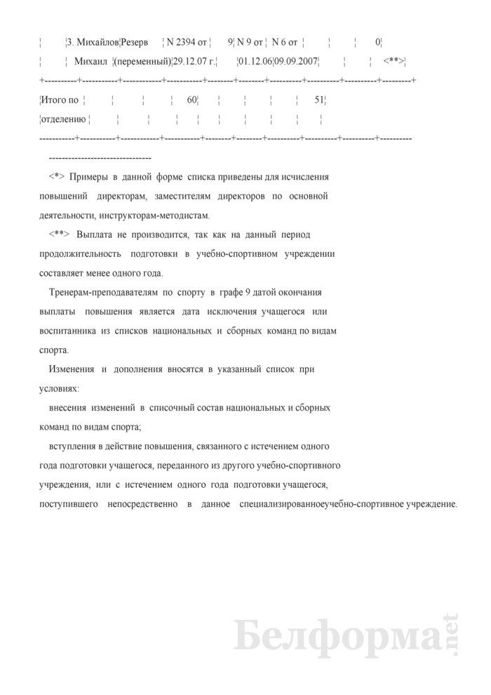 Список с примерами для исчисления повышений за подготовку спортсменов в национальные и сборные команды Республики Беларусь по видам спорта. Страница 2