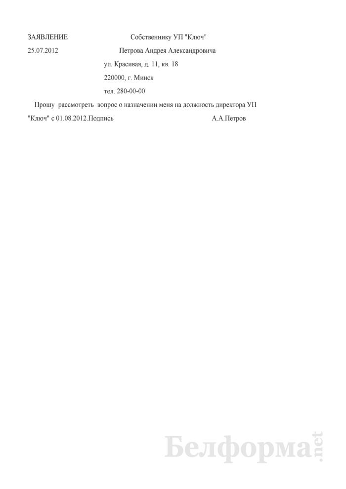Заявление о назначении на должность директора унитарного предприятия (Образец заполнения). Страница 1