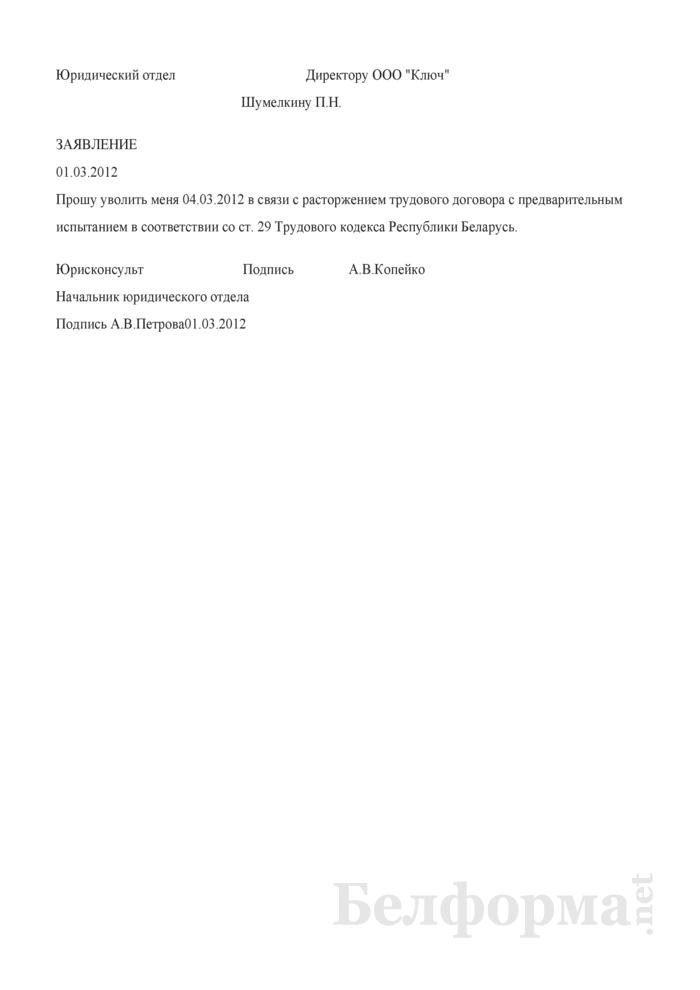 Заявление работника о расторжении трудового договора с предварительным испытанием (Образец заполнения). Страница 1
